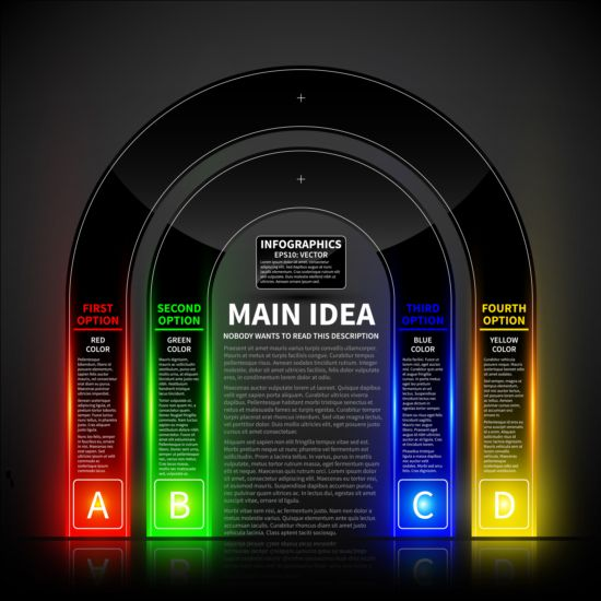 Colored neon infographic vectors 04 neon infographic colored