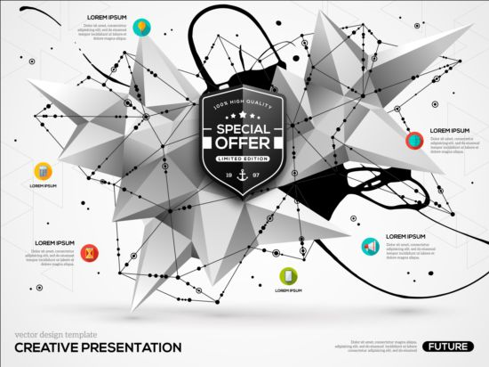 Paint stain and geometric shapes infographic vectors 03 Stain shapes paint infographic geometric