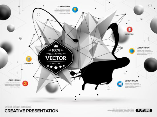 Paint stain and geometric shapes infographic vectors 02 Stain shapes paint infographic geometric