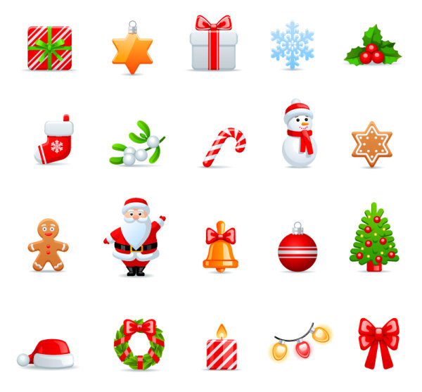 Vivid Christmas icon vector material vivid material icon christmas