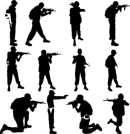 soldiers silhouettes vector set 06 soldiers silhouettes