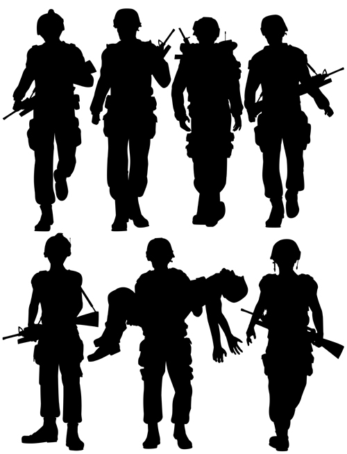 soldiers silhouettes vector set 04 soldiers silhouettes