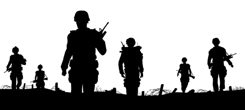 soldiers silhouettes vector set 03 soldiers silhouettes