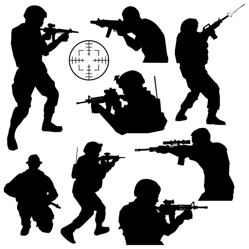 soldiers silhouettes vector set 01 soldiers silhouettes