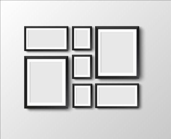 Black photo frame on wall vector graphic 06 wall photo graphic frame black