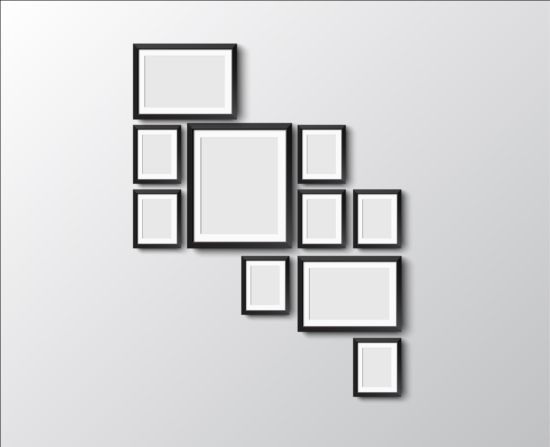 Black photo frame on wall vector graphic 05 wall photo graphic frame black