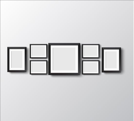 Black photo frame on wall vector graphic 14 wall photo graphic frame black