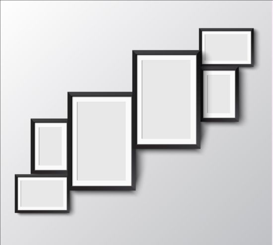 Black photo frame on wall vector graphic 13 wall photo graphic frame black