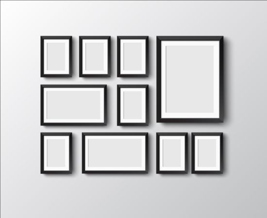 Black photo frame on wall vector graphic 03 wall photo graphic frame black