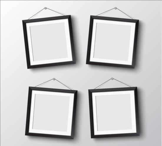 Black photo frame on wall vector graphic 12 wall photo graphic frame black