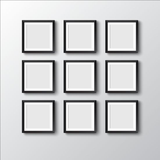 Black photo frame on wall vector graphic 02 wall photo graphic frame black