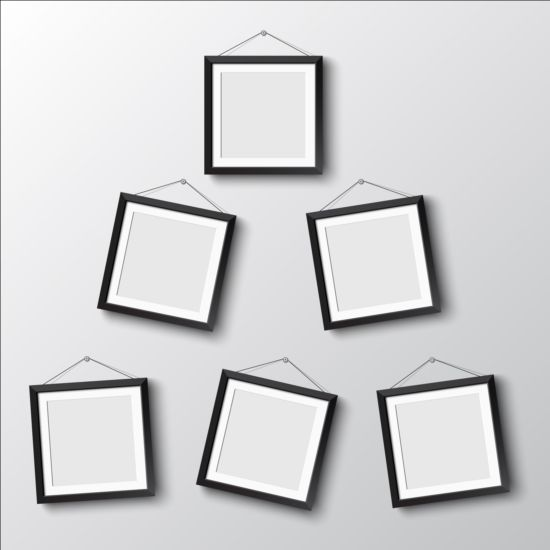 Black photo frame on wall vector graphic 01 wall photo graphic frame black