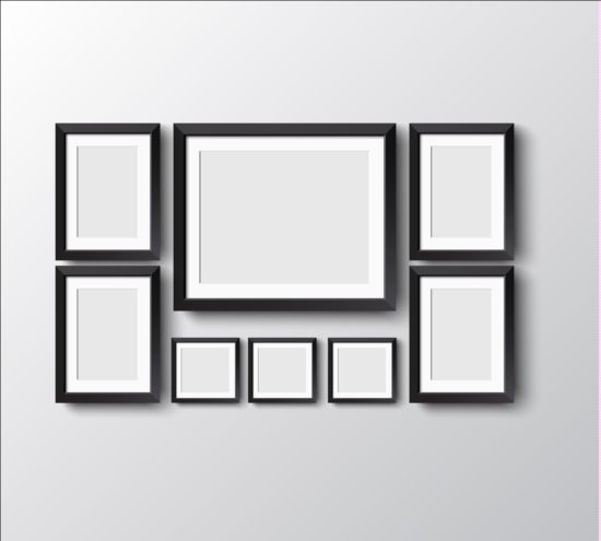 Black photo frame on wall vector graphic 10 wall photo graphic frame black