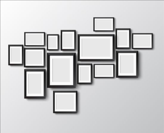 Black photo frame on wall vector graphic 09 wall photo graphic frame black