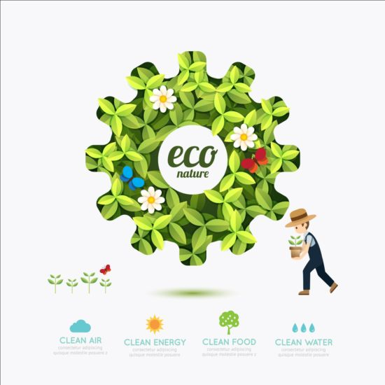 Eco infographic with gearwheel vector material 04 infographic gearwheel eco