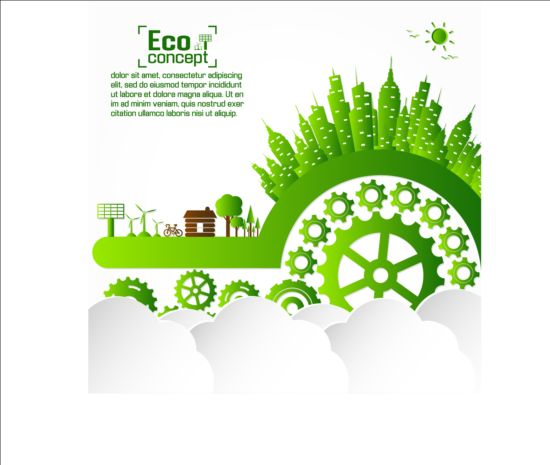 Eco infographic with gearwheel vector material 03 infographic gearwheel eco