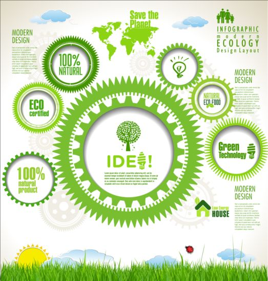 Eco infographic with gearwheel vector material 02 infographic gearwheel eco