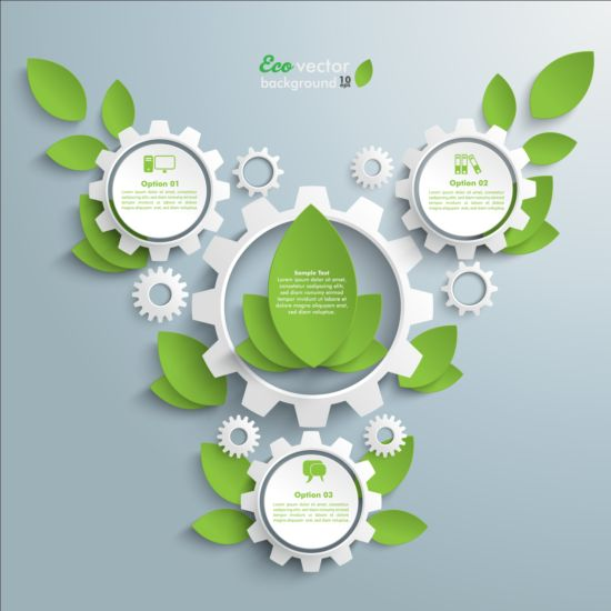 Eco infographic with gearwheel vector material 01 infographic gearwheel eco