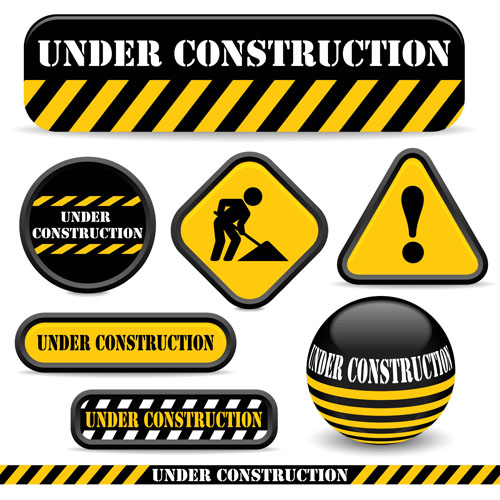 Shiny construction warning sign vector material warning shiny material design construction
