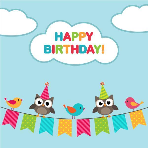 Pleasing Happy Birthday Card And Cute Owls Vector 04 Gooloc Funny Birthday Cards Online Overcheapnameinfo