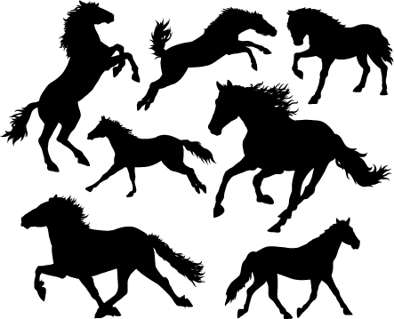 Running horse vector silhouettes 01 silhouettes running horse
