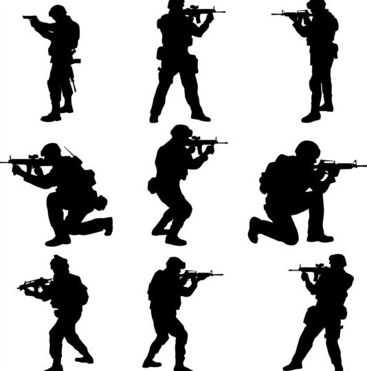 soldier silhouettes vector set 03 soldier silhouettes