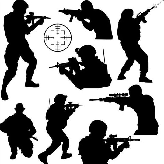 soldier silhouettes vector set 02 soldier silhouettes