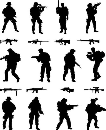 soldier silhouettes vector set 01 soldier silhouettes