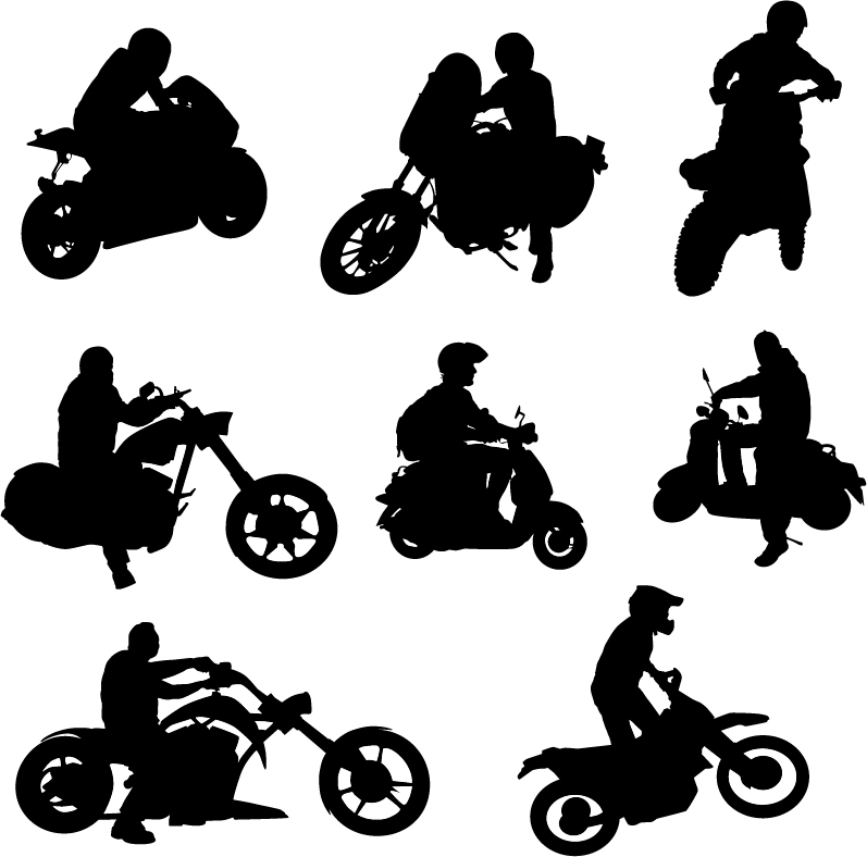 Motorcycle riders with motorcycle silhouettes vector set 02 silhouettes riders motorcycle