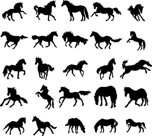 Running horse vector silhouettes 02 silhouettes running horse