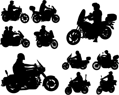Motorcycle riders with motorcycle silhouettes vector set 01 silhouettes riders motorcycle