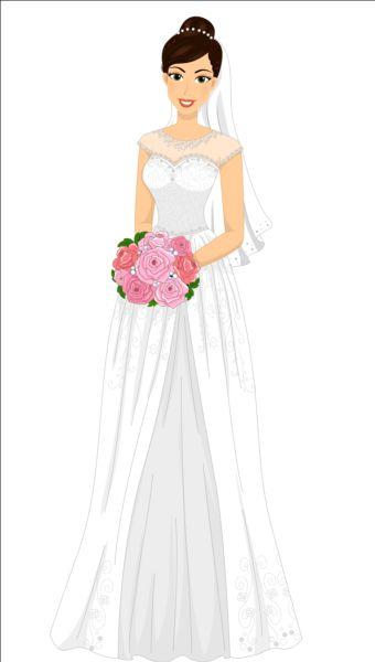 Beautiful brides with wedding dress vectors 06 gooloc Wedding dress vector