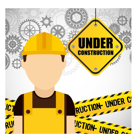 Under construction warning background vector set 07 warning Under construction background