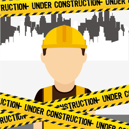 Under construction warning background vector set 04 warning Under construction background