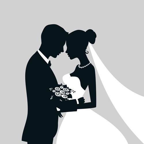 Bride with groom silhouettes vector silhouettes groom bride