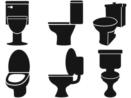 Different toilet silhouettes vector toilet silhouettes different