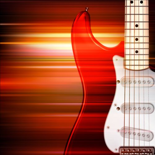 abstract music background with electric guitar vector gooloc