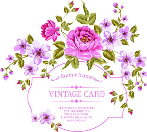 Vintage flowers with frame card vector 03 - GooLoc
