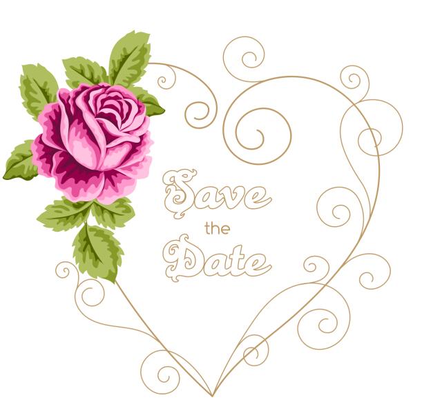 12dyv5qjmdw4h45 Vintage flower with wedding invitation vector 01