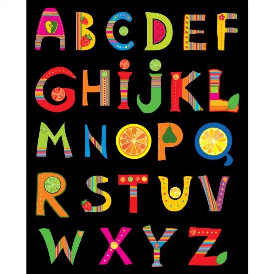 Cute fruits alphabet vector 02 - GooLoc
