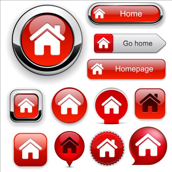 Shiny red buttons web vector set 02 web shiny buttons