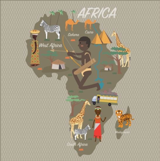 Africa map with infographic vector 02 map infographic Africa