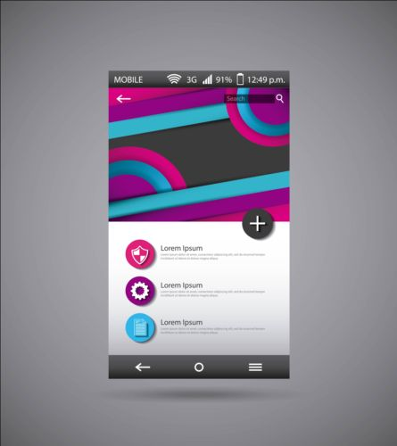 Mobile interface template vector material 02 template mobile interface