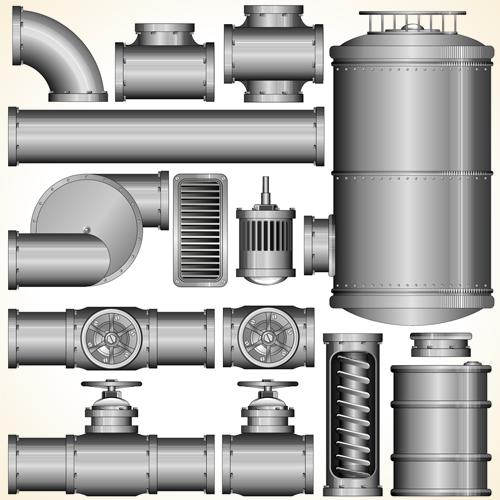 Set of Pipeline Parts vector 05 vector Pipeline Parts Pipeline parts