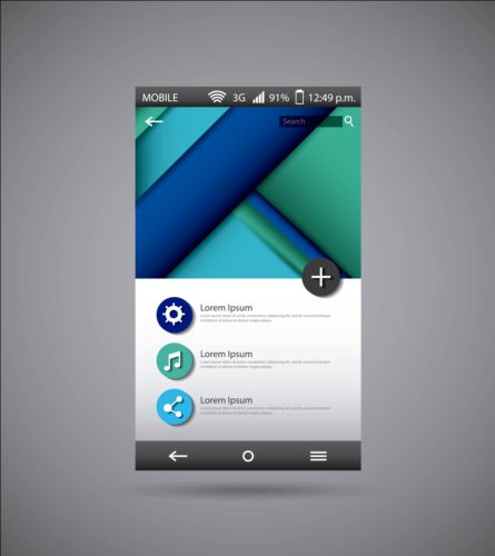 Mobile interface template vector material 01 template mobile interface