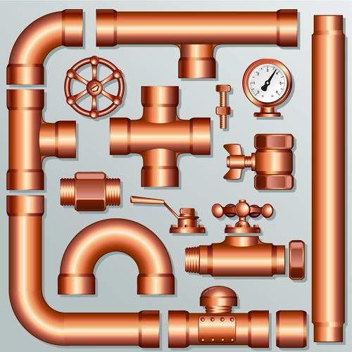 Set of Pipeline Parts vector 03 vector Pipeline Parts Pipeline