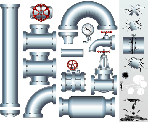 Set of Pipeline Parts vector 02 vector Pipeline Parts Pipeline parts