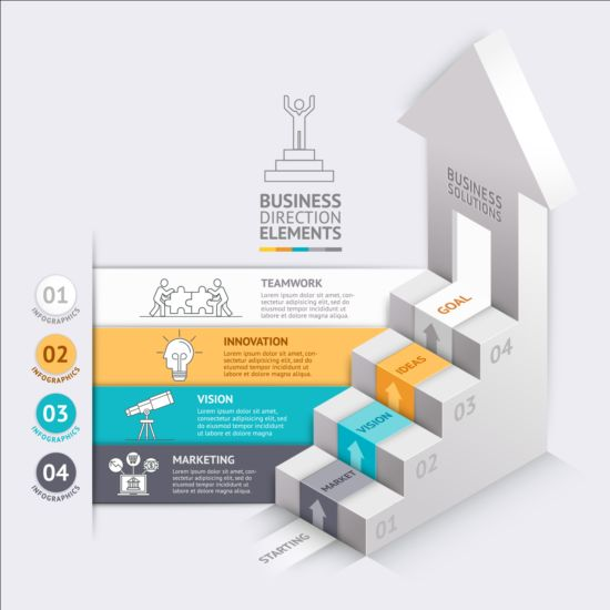 Stairs flight with business infographic vector 04 stairs infographic flight business