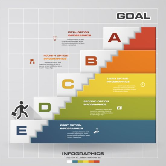 Stairs flight with business infographic vector 02 stairs infographic flight business