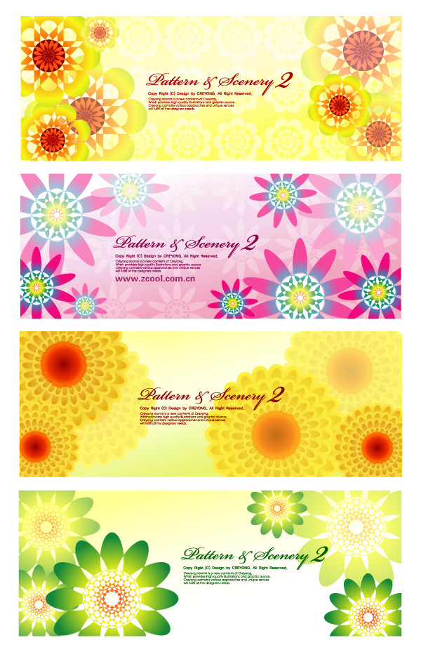 Colorful flowers background vector shading patterns material lovely flowers colorful background